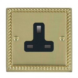 Hamilton Cheriton Georgian Polished Brass 1 Gang 13A Unswitched Socket with Black Insert