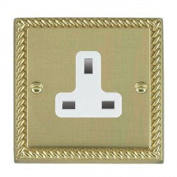 Hamilton Cheriton Georgian Polished Brass 1 Gang 13A Unswitched Socket with White Insert
