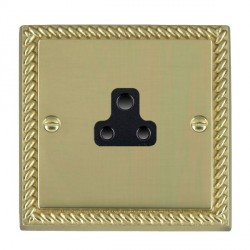 Hamilton Cheriton Georgian Polished Brass 1 Gang 2A Unswitched Socket with Black Insert