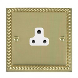 Hamilton Cheriton Georgian Polished Brass 1 Gang 2A Unswitched Socket with White Insert
