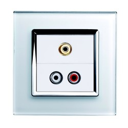Retrotouch Crystal White Chrome Trim Audio/Video Socket