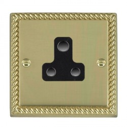 Hamilton Cheriton Georgian Polished Brass 1 Gang 5A Unswitched Socket with Black Insert