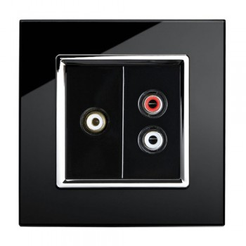 Retrotouch Crystal Black Chrome Trim Audio/Video Socket