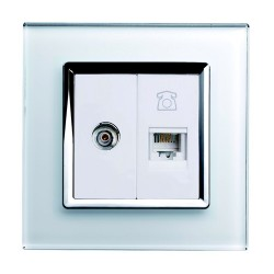 Retrotouch Crystal White Chrome Trim TV/Phone Socket