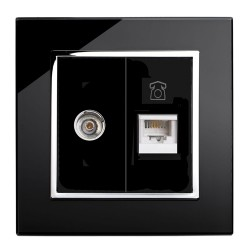 Retrotouch Crystal Black Chrome Trim TV/Phone Socket