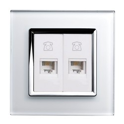 Retrotouch Crystal White Chrome Trim Dual RJ11 Telephone Socket