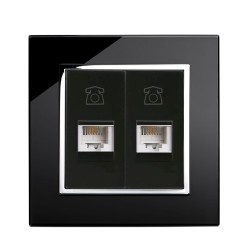 Retrotouch Crystal Black Chrome Trim Dual RJ11 Telephone Socket