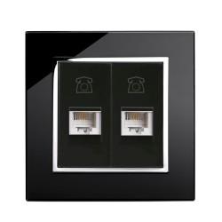Retrotouch Crystal Black Chrome Trim Dual RJ11 Telephone Socket