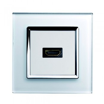 Retrotouch Crystal White Chrome Trim HDMI Socket