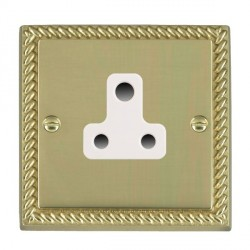 Hamilton Cheriton Georgian Polished Brass 1 Gang 5A Unswitched Socket with White Insert