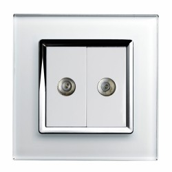 Retrotouch Crystal White Chrome Trim Dual TV Socket