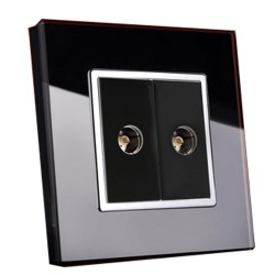 Retrotouch Crystal Black Chrome Trim Dual TV Socket