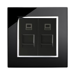 Retrotouch Crystal Black Chrome Trim Dual RJ45 Socket