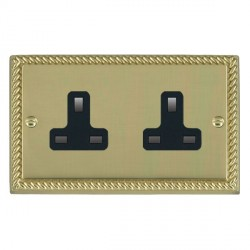 Hamilton Cheriton Georgian Polished Brass 2 Gang 13A Unswitched Socket with Black Insert