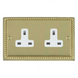 Hamilton Cheriton Georgian Polished Brass 2 Gang 13A Unswitched Socket with White Insert