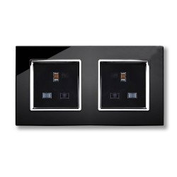 Retrotouch Crystal Black Chrome Trim 13A Double Unswitched Socket