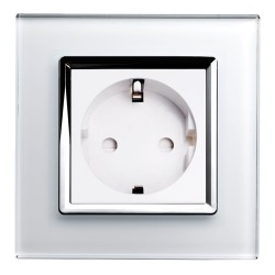 Retrotouch Crystal White Chrome Trim 13A Single Unswitched SHUKO Socket