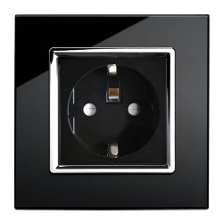Retrotouch Crystal Black Chrome Trim 13A Single Unswitched SHUKO Socket