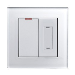 Retrotouch Crystal White Plain Glass 13A Fused Spur with 20A DP Switch