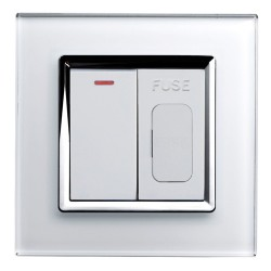 Retrotouch Crystal White Chrome Trim 13A Fused Spur with 20A DP Switch