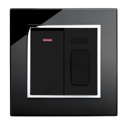 Retrotouch Crystal Black Chrome Trim 13A Fused Spur with 20A DP Switch