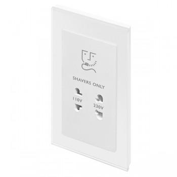 Retrotouch Crystal White Plain Glass Shaver Socket