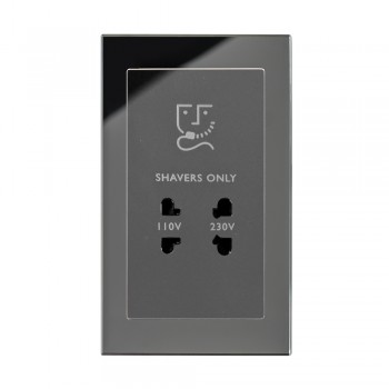 Retrotouch Crystal Black Plain Glass Shaver Socket