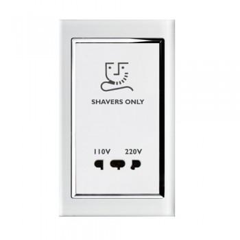 Retrotouch Crystal White Chrome Trim Shaver Socket