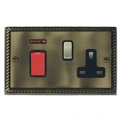 Hamilton Cheriton Georgian Antique Brass 1 Gang Double Pole 45A Red Rocker + 13A Switched Socket with Black Insert