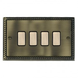 Hamilton Cheriton Georgian Antique Brass 4 Gang Multi way Touch Master Trailing Edge with Black Insert