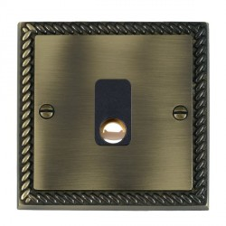 Hamilton Cheriton Georgian Antique Brass 20A Cable Outlet with Black Insert