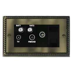 Hamilton Cheriton Georgian Antique Brass TV+FM+SAT+SAT (DAB Compatible)+TV+TCS (DAB Compatible) with Black Insert