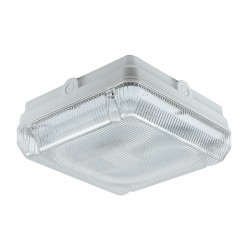Ansell Astro CFL 28W White Bulkhead with Prismatic Diffuser and Microwave Sensor