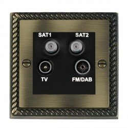 Hamilton Cheriton Georgian Antique Brass TV+FM+SAT+SAT (DAB Compatible) with Black Insert