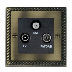 Hamilton Cheriton Georgian Antique Brass TV+FM+SAT (DAB Compatible) with Black Insert