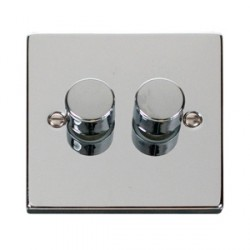 Click Deco Victorian Polished Chrome 2 Gang 2 Way Dimmer Switch
