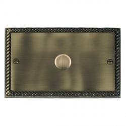 Hamilton Cheriton Georgian Antique Brass Push On/Off Dimmer 1 Gang 2 way 1000W with Antique Brass Insert