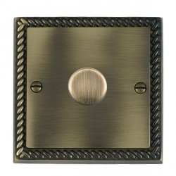 Hamilton Cheriton Georgian Antique Brass Push On/Off Dimmer 1 Gang Multi-way 250W/VA Trailing Edge with Antique Brass Insert