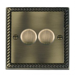 Hamilton Cheriton Georgian Antique Brass Push On/Off Dimmer 2 Gang 2 way Inductive 200VA with Antique Brass Insert