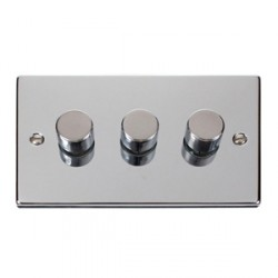 Click Deco Victorian Polished Chrome 3 Gang 400W Dimmer Switch