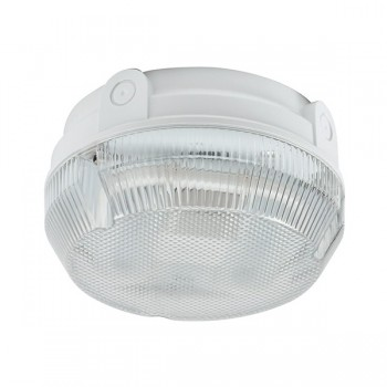 Ansell Delta CFL 16W White Bulkhead with Prismatic Diffuser and Photocell