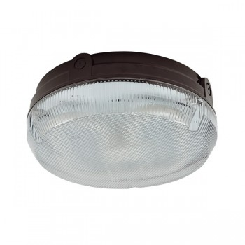 Ansell Delta CFL 28W Black Bulkhead with Prismatic Diffuser and Microwave Sensor