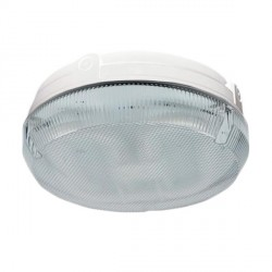 Ansell Delta CFL 28W White Bulkhead with Prismatic Diffuser and Emergency Backup