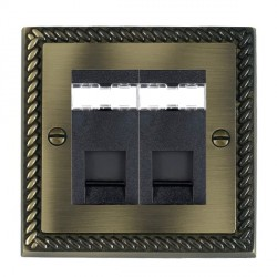 Hamilton Cheriton Georgian Antique Brass 2 Gang RJ45 Outlet Cat 5e Unshielded with Black Insert