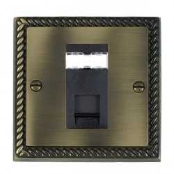 Hamilton Cheriton Georgian Antique Brass 1 Gang RJ45 Outlet Cat 5e Unshielded with Black Insert
