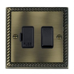 Hamilton Cheriton Georgian Antique Brass 1 Gang 13A Fused Spur, Double Pole with Black Insert