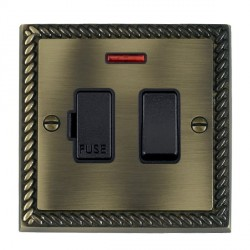 Hamilton Cheriton Georgian Antique Brass 1 Gang 13A Fused Spur, Double Pole + Neon with Black Insert