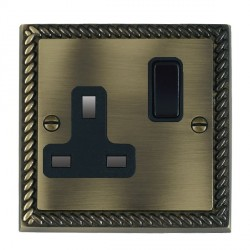 Hamilton Cheriton Georgian Antique Brass 1 Gang 13A Switched Socket - Double Pole with Black Insert