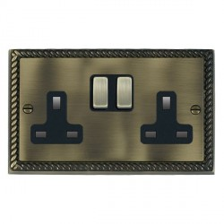 Hamilton Cheriton Georgian Antique Brass 2 Gang 13A Switched Socket - Double Pole with Black Insert and Brass Switches