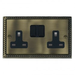 Hamilton Cheriton Georgian Antique Brass 2 Gang 13A Switched Socket - Double Pole with Black Insert and Black Switches